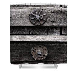Weathered Wood And Metal Five Shower Curtain by Kandy Hurley