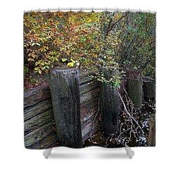 Weathered Wood In Autumn Shower Curtain by Cedric Hampton