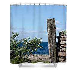 Shower Curtain featuring the photograph Weathered Wooden Pole by Kennerth and Birgitta Kullman