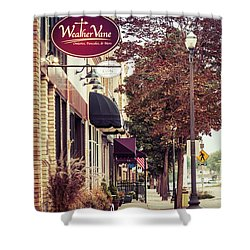 Shower Curtain featuring the photograph Weathervane Downtown Menasha by Joel Witmeyer