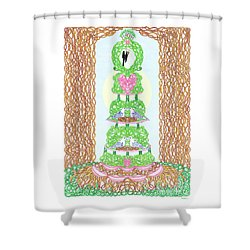 Wedding Cake With Doves Customize It With Names Of Bride And Groom Shower Curtain