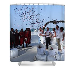 Wedding Party In Rose Petals Shower Curtain