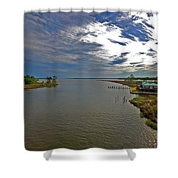 Weeks Bay At Sunset Shower Curtain by Michael Thomas