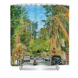 Shower Curtain featuring the painting Weeping Janur Bali Indonesia by Melly Terpening
