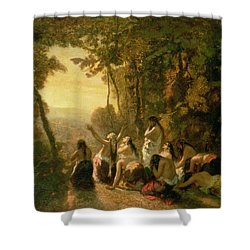 Weeping Of The Daughter Of Jephthah Shower Curtain by Narcisse Virgile Diaz de la Pena