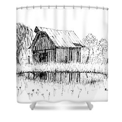 Weeping Willow And Barn Two Shower Curtain