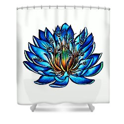 Weird Multi Eyed Blue Water Lily Flower Shower Curtain