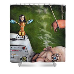 Weird Science-the Robot Factory Shower Curtain by Leah Saulnier The Painting Maniac