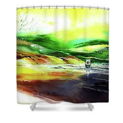 Shower Curtain featuring the painting Welcome Back by Anil Nene