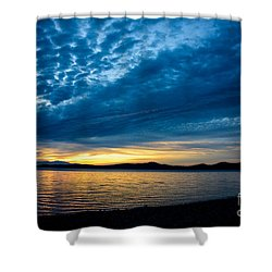 Welcome Beach Storm Sunset Shower Curtain by Elaine Hunter