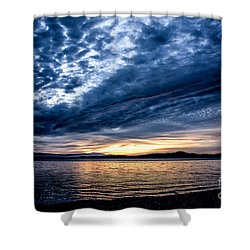 Welcome Beach Stormy Sky Shower Curtain by Elaine Hunter