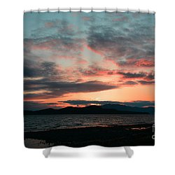 Welcome Beach Sunset 2015 Shower Curtain by Elaine Hunter