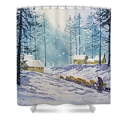 Welcome End To A Winter's Day Shower Curtain