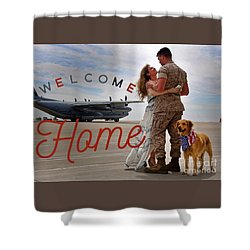 Shower Curtain featuring the digital art Welcome Home by Kathy Tarochione