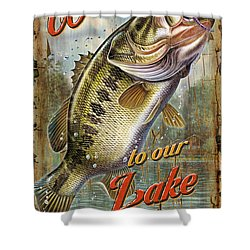 Welcome Lake House Sign Shower Curtain by Jon Q Wright