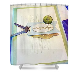 Welcome New Baby Handmade Stationary Shower Curtain