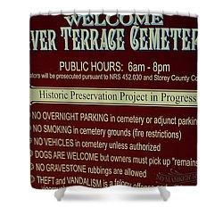 Welcome Silver Terrace Cemeteries Shower Curtain by LeeAnn McLaneGoetz McLaneGoetzStudioLLCcom