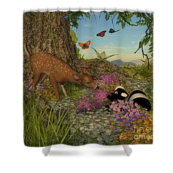 Shower Curtain featuring the digital art Welcome Spring by Methune Hively