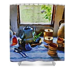 Shower Curtain featuring the painting Welcome Table by Joan Reese
