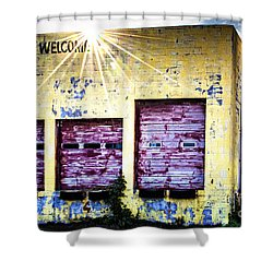Welcome Shower Curtain by Tamyra Ayles