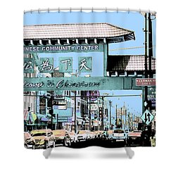 Shower Curtain featuring the photograph Welcome To Chinatown Sign Blue by Marianne Dow