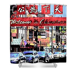 Shower Curtain featuring the photograph Welcome To Chinatown Sign Red by Marianne Dow