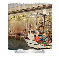 Shower Curtain featuring the photograph Welcome To Morro Bay by Art Block Collections