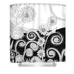 Shower Curtain featuring the painting Welcome To Our World by Lou Belcher