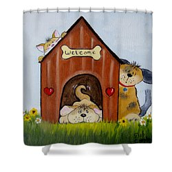 Welcome To The Doghouse Shower Curtain