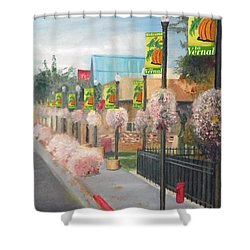 Welcome To Vernal Shower Curtain by Sherril Porter