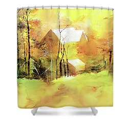 Shower Curtain featuring the painting Welcome Winter by Anil Nene