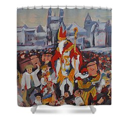 Shower Curtain featuring the painting Welcoming Saint Nicolas In Maastricht by Nop Briex
