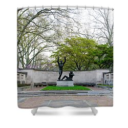 Welcoming To Freedom - Philadelphia Shower Curtain by Bill Cannon