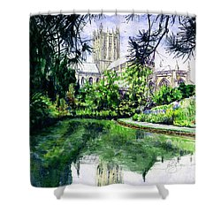 Wells Cathedral Shower Curtain by John D Benson