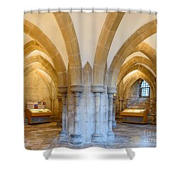 Shower Curtain featuring the photograph Wells Cathedral Undercroft by Colin Rayner