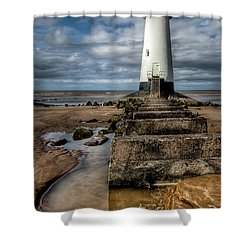 Welsh Lighthouse  Shower Curtain by Adrian Evans