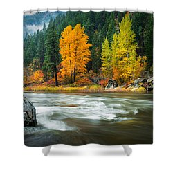 Shower Curtain featuring the photograph Wenatchee Riverside by Dan Mihai