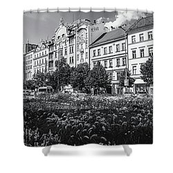 Shower Curtain featuring the photograph Wenceslas Square In Prague by Jenny Rainbow