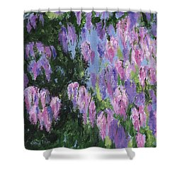 Shower Curtain featuring the painting Wendy's Wisteria by Jamie Frier