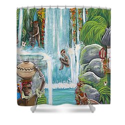We're Happy Shower Curtain by V Boge