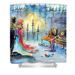 Shower Curtain featuring the painting Werewolf Romance by Heather Calderon