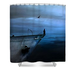 West Across The Ocean Shower Curtain by Joachim G Pinkawa