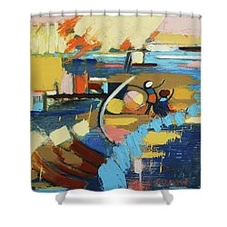 Shower Curtain featuring the painting West End Blues by Erin Fickert-Rowland