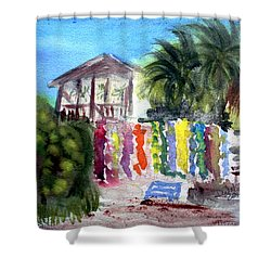 Shower Curtain featuring the painting West End Market by Donna Walsh