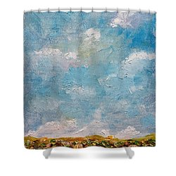 Shower Curtain featuring the painting West Field Seedlings by Judith Rhue