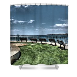 West Lake Okoboji Pier Shower Curtain
