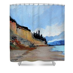 Shower Curtain featuring the painting West Of Dungeness by Nancy Merkle