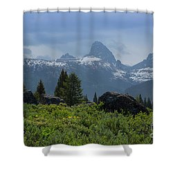 West Of The Tetons Shower Curtain