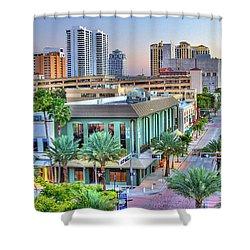 West Palm At Twilight Shower Curtain by Debra and Dave Vanderlaan