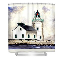 West Pierhead Lighthouse Shower Curtain by Michael Vigliotti